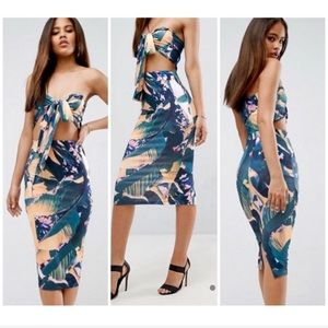 ASOS Tie Front Bodycon Midi Floral Dress Blue 12